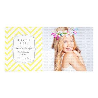 Chevron amarillo - cualquier ocasión le agradece tarjeta fotográfica personalizada
