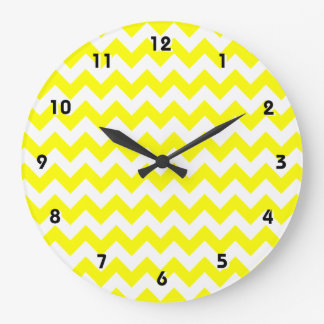 Chevron amarillo eléctrico reloj redondo grande