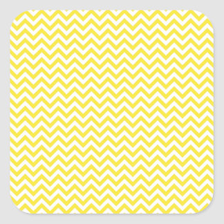 Chevron amarillo pegatina cuadrada
