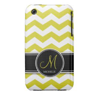 Chevron amarillo y blanco con el monograma funda para iPhone 3 de Case-Mate
