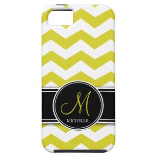 Chevron amarillo y blanco con el monograma funda para iPhone SE/5/5s