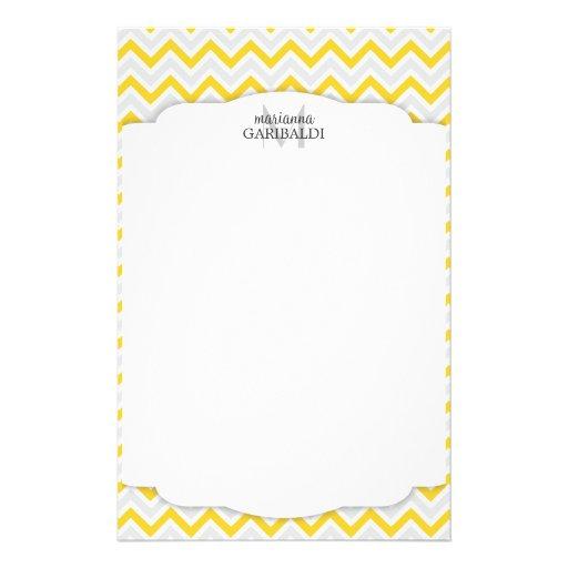 Chevron amarillo y moderno personalizado papeleria