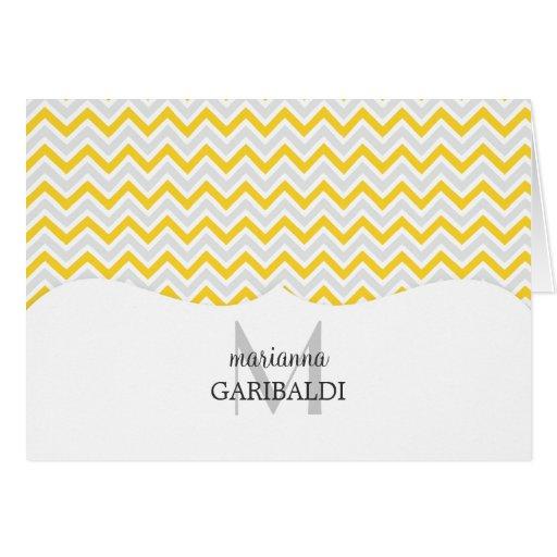 Chevron amarillo y moderno personalizado tarjeta pequeña