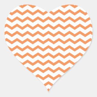 Chevron anaranjado de moda Pattern.ai Pegatina En Forma De Corazón