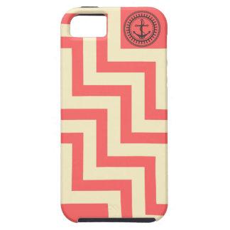 Chevron Anchor Preppy Pink Coral Peach Zig Zag iPhone SE/5/5s Case