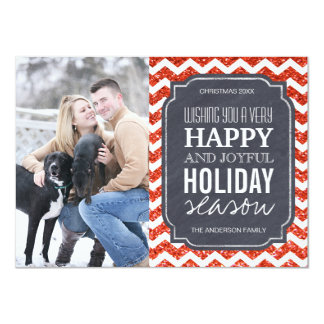 Chevron and Glitter Christmas Photo Cards