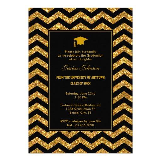 Chevron and Glitter Graduation Invitation