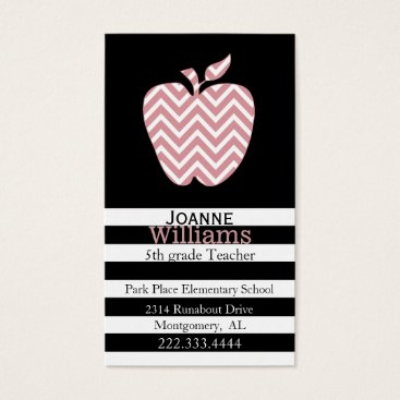 Professional Business Chevron Apple and Stripes Teachers Business Card