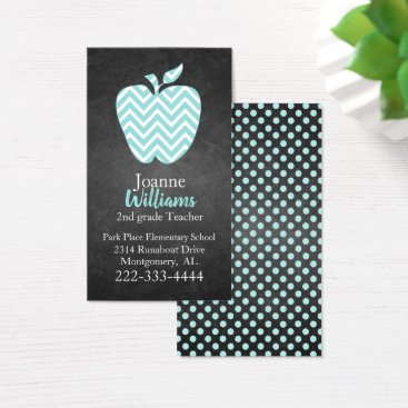 Professional Business Chevron Apple on Chalkboard Teachers Business Card