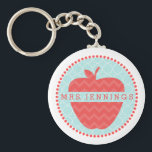 "Chevron Apple Quatrefoil Teacher Keychain<br><div class=""desc"">A gift for teachers featuring an illustration of a red chevron apple over a light blue quatrefoil background.  Personalize with your name on apple.</div>"