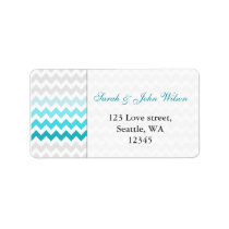 chevron aqua Ombre  return address label
