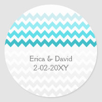 chevron aqua Ombre wedding favor stickers