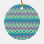 Chevron Aqua Pattern Christmas Tree Ornament