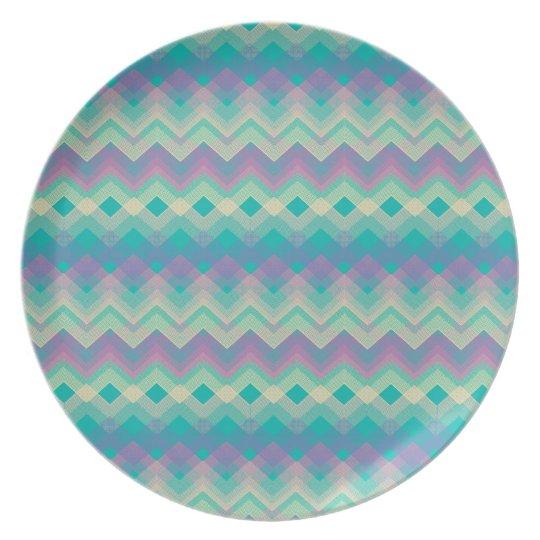 Chevron Aqua Pattern Dinner Plate