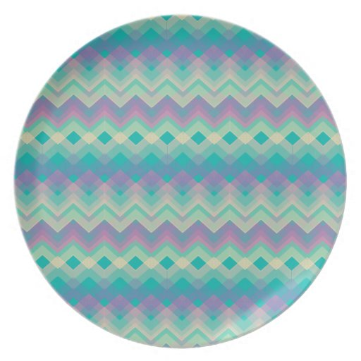 Chevron Aqua Pattern Dinner Plates