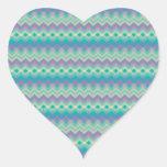 Chevron Aqua Pattern Heart Stickers