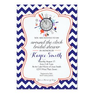 Around the clock invitations zazzle chevron around the clock bridal shower invitation filmwisefo