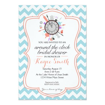 Around the Clock Bridal Shower Invitations Zazzlecom