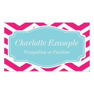 Chevron azul blanco rosado personal tarjeta de visita