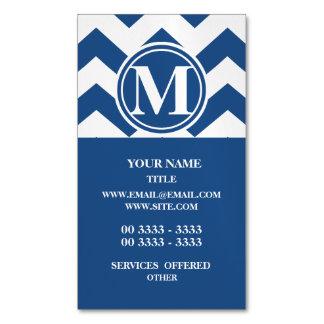 Chevron azul clásico con monograma tarjetas de visita magnéticas (paquete de 25)