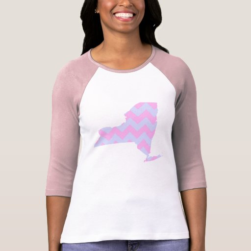 Chevron azul de la diversión linda y rosado en col camisetas