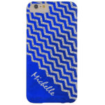 Chevron azul de plata personalizado funda de iPhone 6 plus barely there