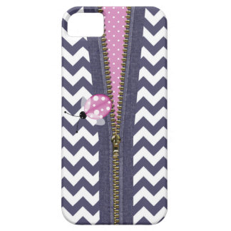 Chevron azul elegante con la cremallera y la mariq iPhone 5 cárcasa