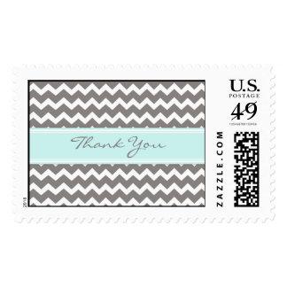 Chevron azul gris le agradece los sellos del boda
