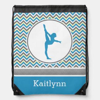 Chevron azul/gris raya la gimnasia con el mochilas