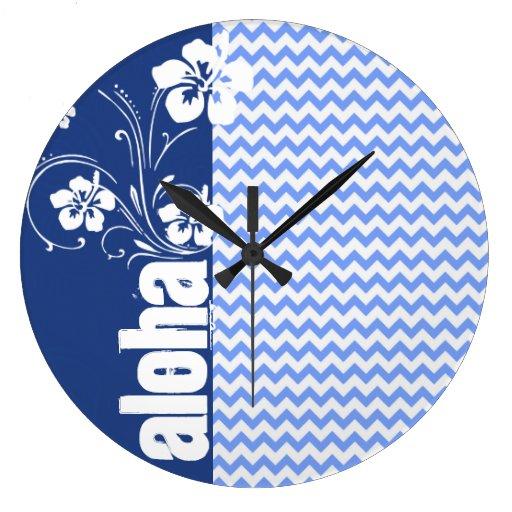 Chevron azul; Hawaiana Reloj De Pared