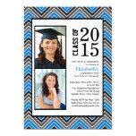 Chevron azul moderno raya la graduación de la foto comunicado personalizado