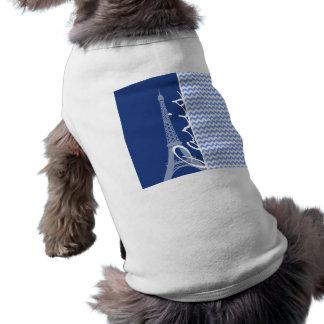 Chevron azul; París Camisetas De Mascota