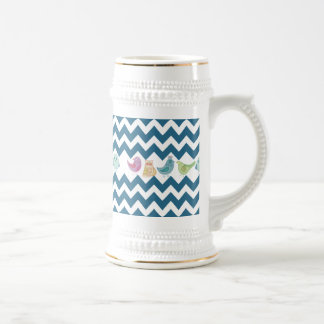 Chevron azul raya búhos lindos caprichosos de los  tazas de café