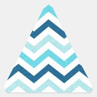 Chevron azul reluciente pegatina triangular