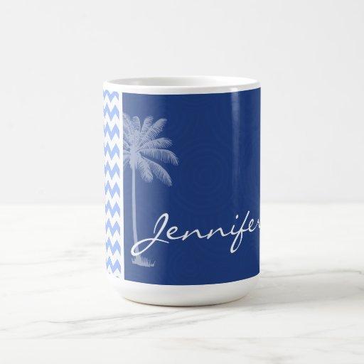 Chevron azul tropical tazas de café