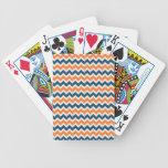 Chevron azul y anaranjado colorido raya zigzags barajas de cartas