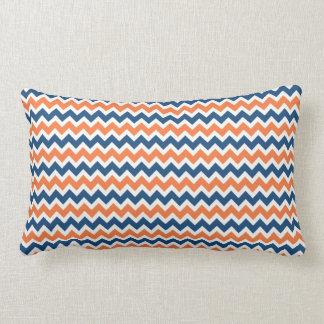 Chevron azul y anaranjado colorido raya zigzags cojín