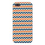 Chevron azul y anaranjado colorido raya zigzags iPhone 5 carcasas