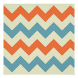 Chevron azul y anaranjado en colores pastel raya z posters