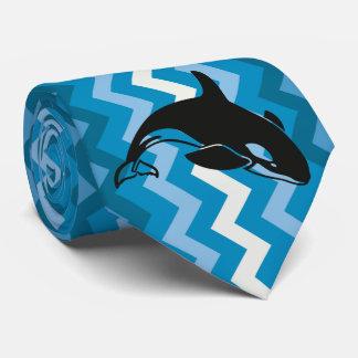 Chevron azul y blanco de la orca hermosa de la corbatas personalizadas
