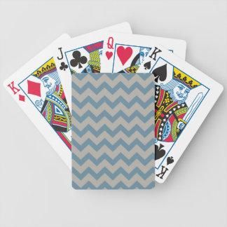 Chevron azul y gris cartas de juego