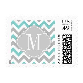 Chevron azul y gris del trullo con el monograma sellos