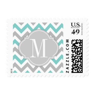 Chevron azul y gris del trullo con el monograma timbres postales
