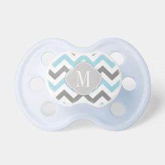 Chevron azul y gris personalizado Binky Chupetes Para Bebés