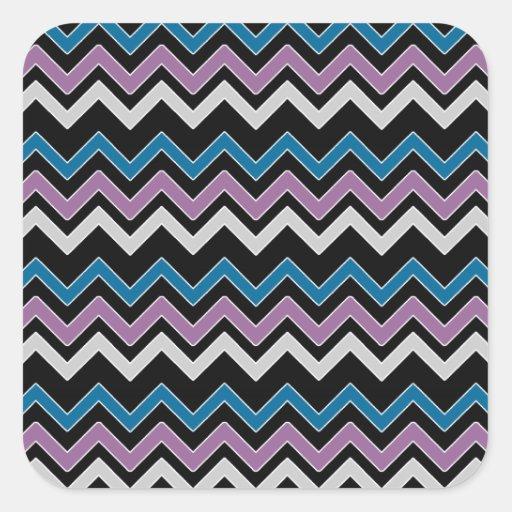 Chevron azul y negro gris magenta pegatina cuadrada