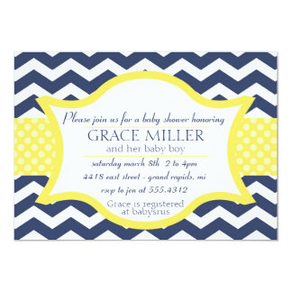 Chevron Baby shower invite. Navy blue and yellow Card