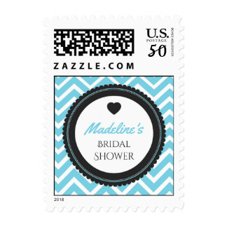 Chevron Bachelorette Party (Blue / Gray) Postage