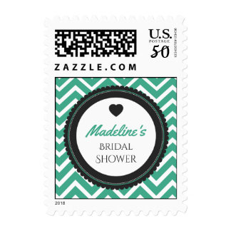 Chevron Bachelorette Party (Dark Green / Gray) Postage