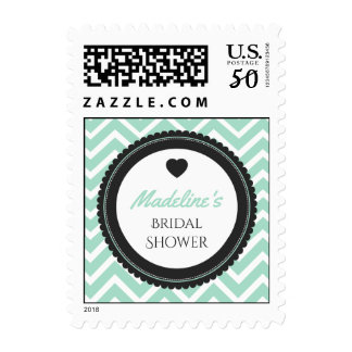 Chevron Bachelorette Party (Green / Gray) Postage