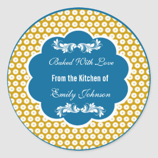 Chevron Baked With Love Stickers Gift Tags Labels